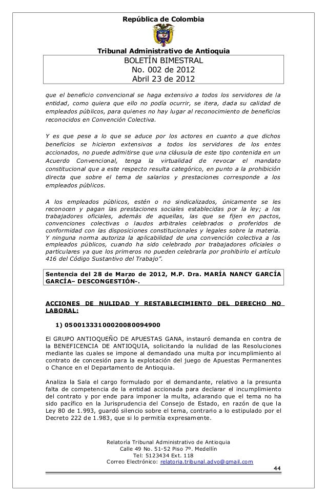 Boletín 002 de 2012