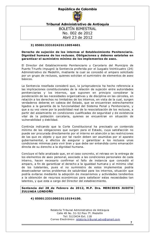 República de Colombia  Tribunal Administrativo de Antioquia  BOLETÍN BIMESTRAL  No. 002 de 2012  Abril 23 de 2012  3) 0500...