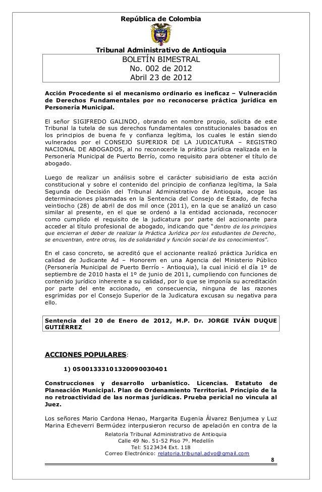 República de Colombia  Tribunal Administrativo de Antioquia  BOLETÍN BIMESTRAL  No. 002 de 2012  Abril 23 de 2012  Acción ...