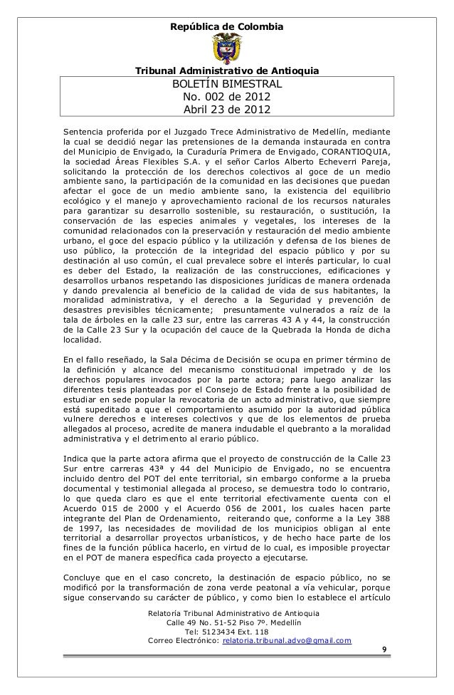República de Colombia  Tribunal Administrativo de Antioquia  BOLETÍN BIMESTRAL  No. 002 de 2012  Abril 23 de 2012  Sentenc...