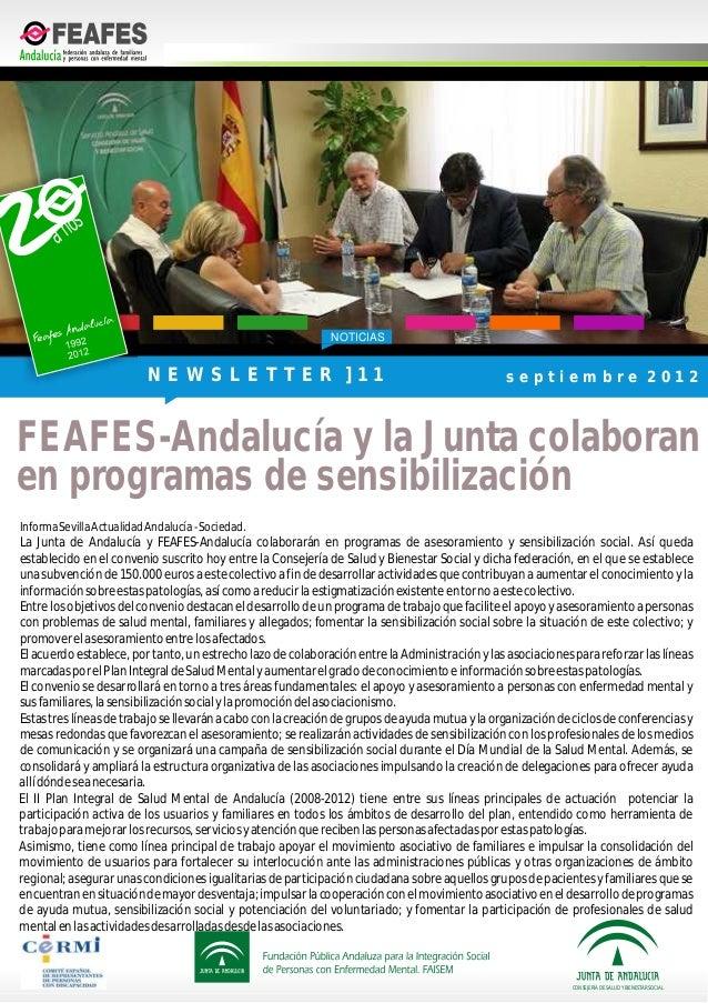 NOTICIASInformaSevillaActualidadAndalucía-Sociedad.La Junta de Andalucía y FEAFES-Andalucía colaborarán en programas de as...