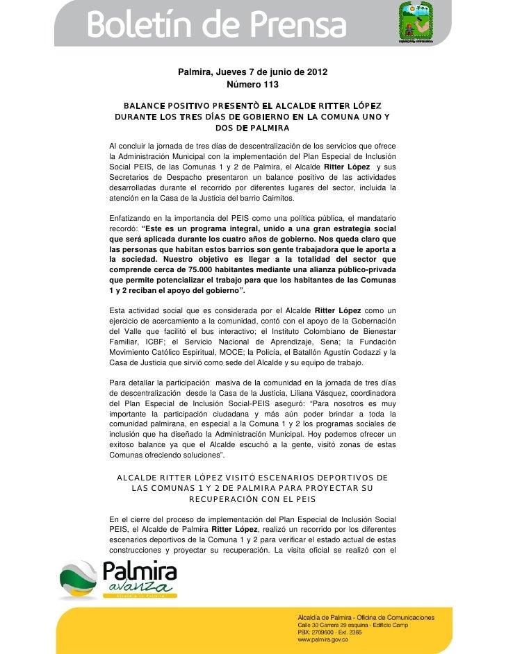 Palmira, Jueves 7 de junio de 2012                               Número 113  BALANCE POSITIVO PRESENTÒ EL ALCALDE RITTER L...