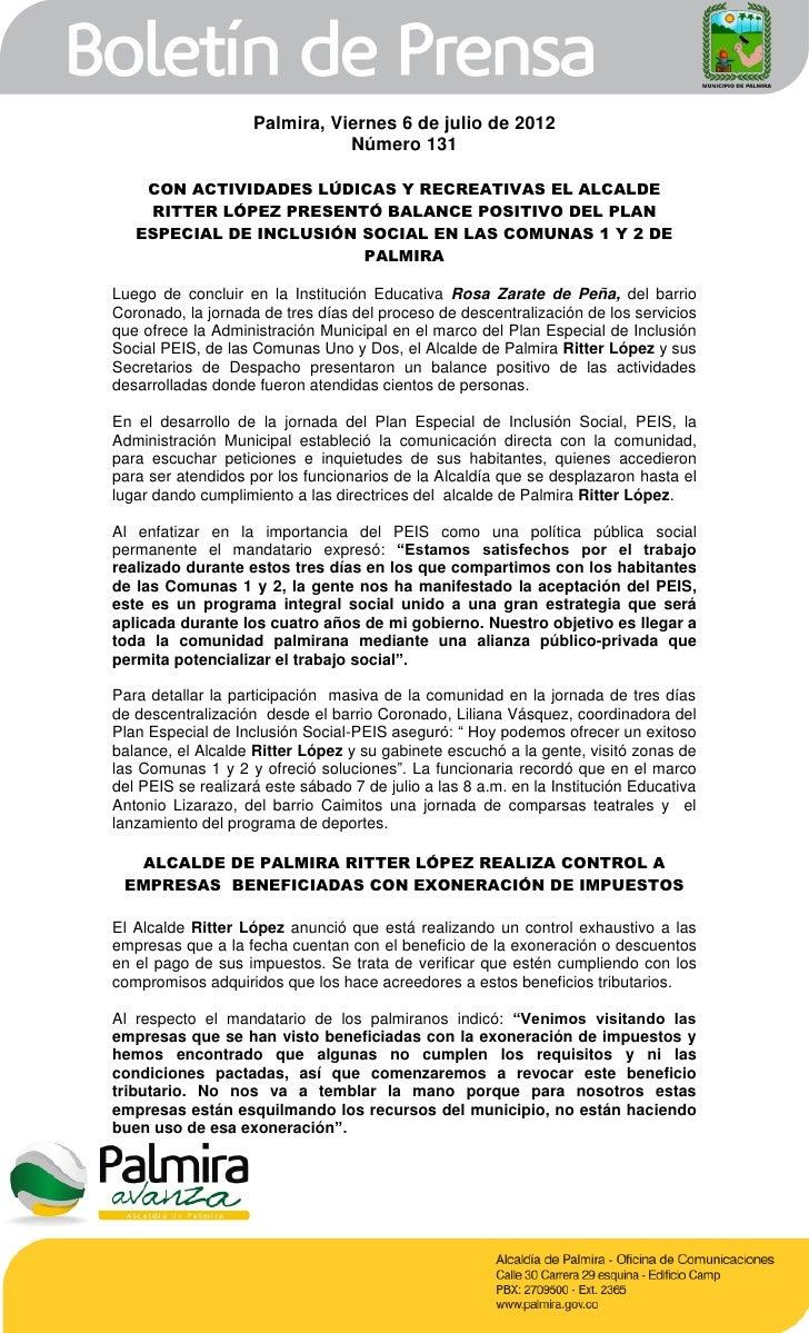 Palmira, Viernes 6 de julio de 2012                               Número 131    CON ACTIVIDADES LÚDICAS Y RECREATIVAS EL A...