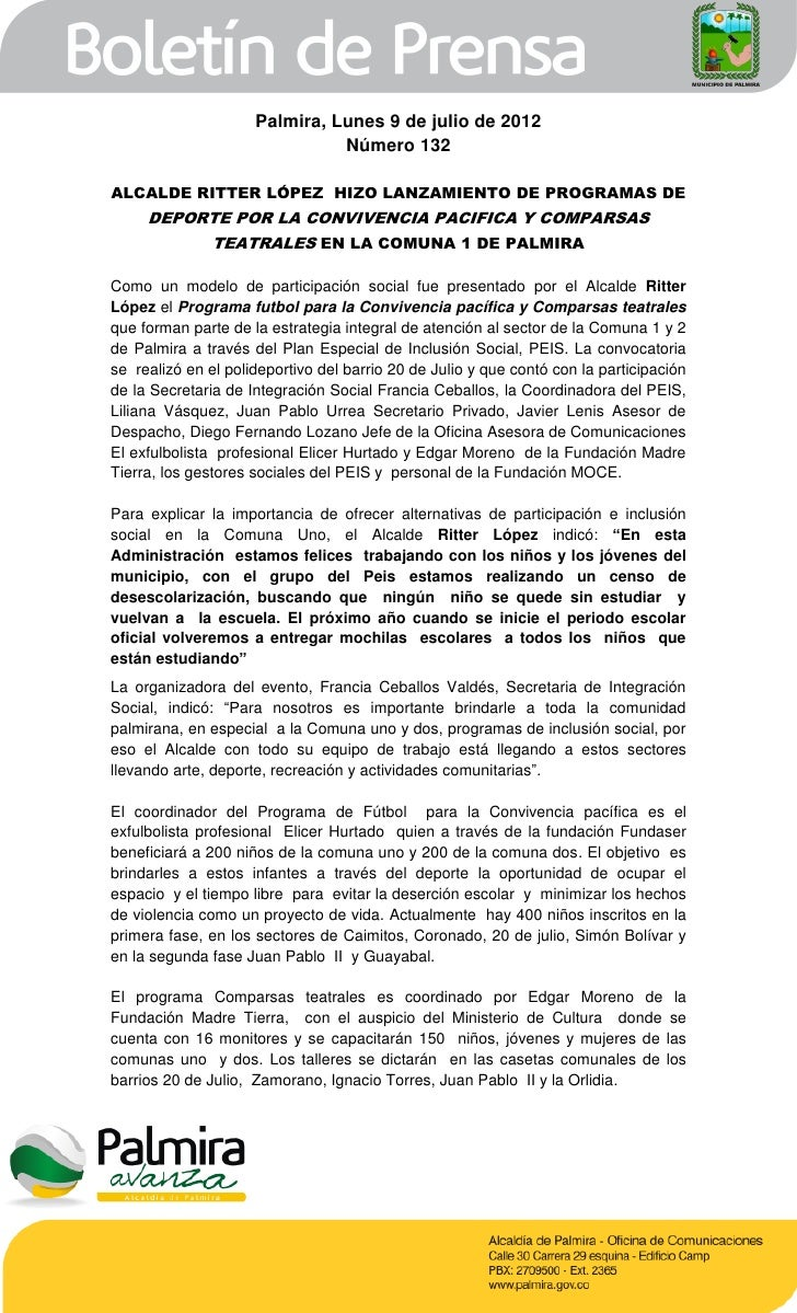 Palmira, Lunes 9 de julio de 2012                               Número 132ALCALDE RITTER LÓPEZ HIZO LANZAMIENTO DE PROGRAM...