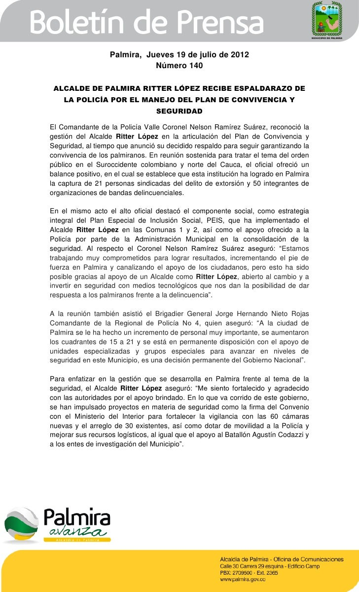 Palmira, Jueves 19 de julio de 2012                              Número 140 ALCALDE DE PALMIRA RITTER LÓPEZ RECIBE ESPALDA...