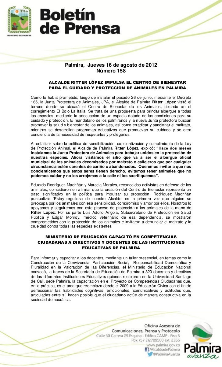 Palmira, Jueves 16 de agosto de 2012                               Número 158          ALCALDE RITTER LÓPEZ IMPULSA EL CEN...