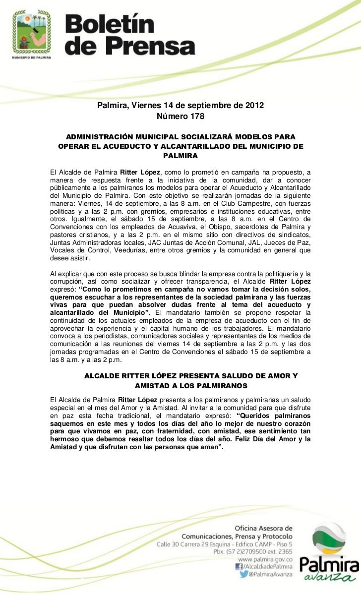 Palmira, Viernes 14 de septiembre de 2012                              Número 178   ADMINISTRACIÓN MUNICIPAL SOCIALIZARÁ M...