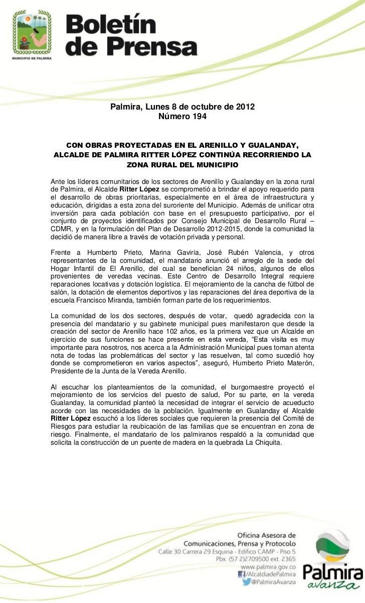 Palmira, Lunes 8 de octubre de 2012                               Número 194  CON OBRAS PROYECTADAS EN EL ARENILLO Y GUALA...