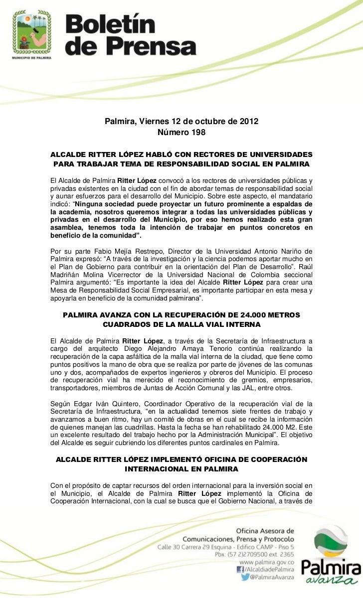 Palmira, Viernes 12 de octubre de 2012                               Número 198ALCALDE RITTER LÓPEZ HABLÓ CON RECTORES DE ...