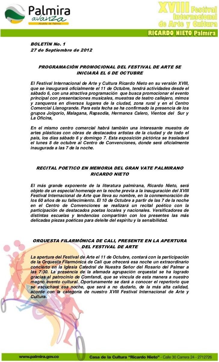 BOLETÌN No. 127 de Septiembre de 2012   PROGRAMACIÒN PROMOCIONAL DEL FESTIVAL DE ARTE SE               INICIARÀ EL 6 DE OC...