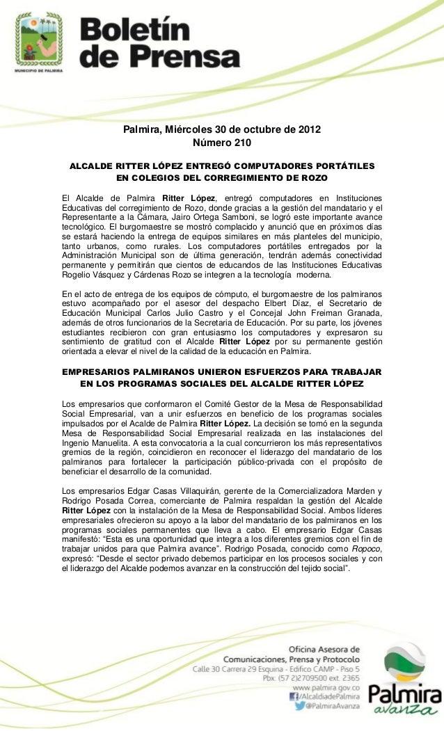 Palmira, Miércoles 30 de octubre de 2012                              Número 210  ALCALDE RITTER LÓPEZ ENTREGÓ COMPUTADORE...