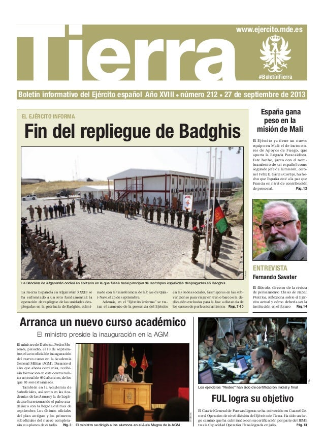 TierraBoletín informativo del Ejército español Año XVIII número 212 27 de septiembre de 2013 Arranca un nuevo curso académ...