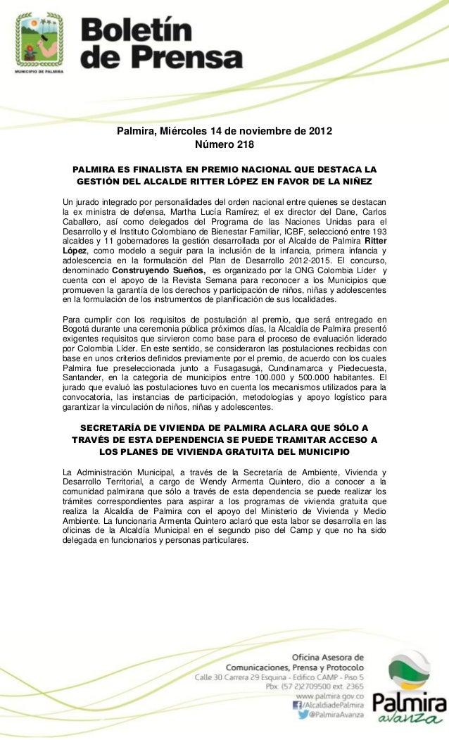 Palmira, Miércoles 14 de noviembre de 2012                              Número 218  PALMIRA ES FINALISTA EN PREMIO NACIONA...