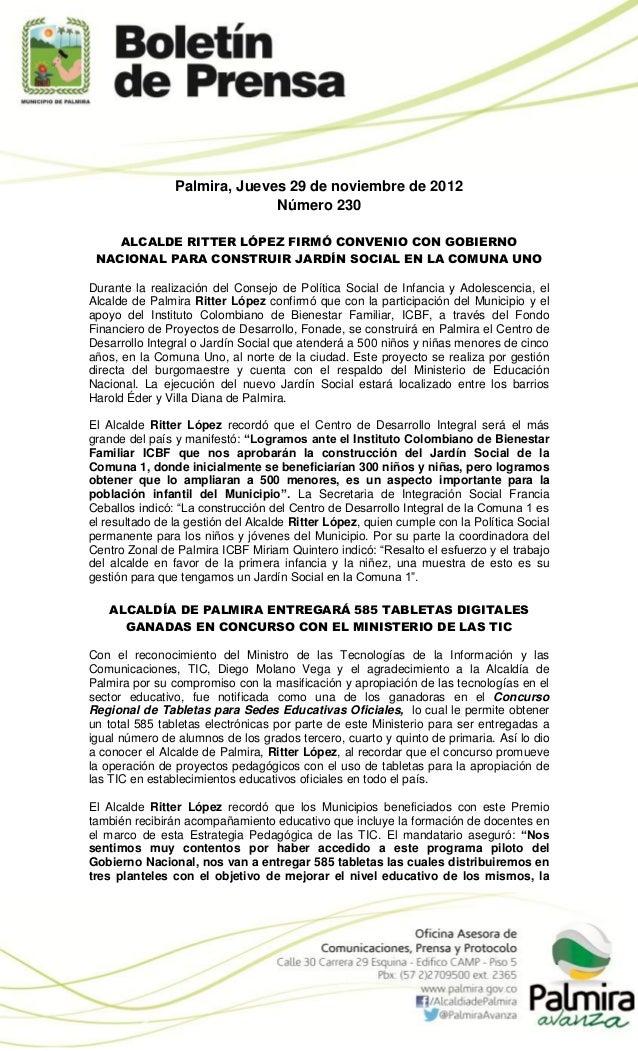 Palmira, Jueves 29 de noviembre de 2012                              Número 230    ALCALDE RITTER LÓPEZ FIRMÓ CONVENIO CON...