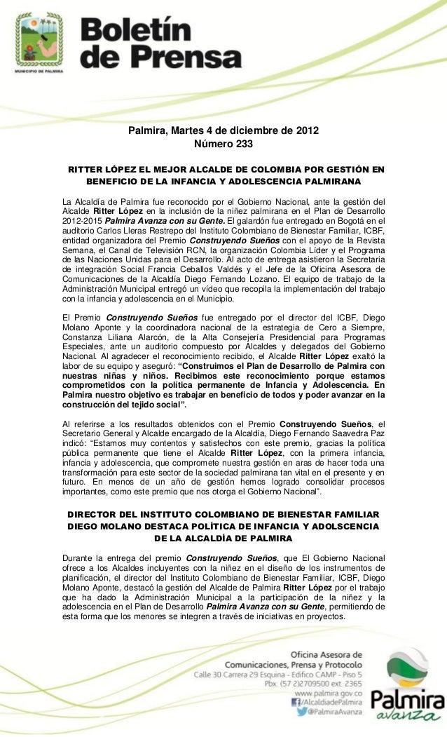 Palmira, Martes 4 de diciembre de 2012                              Número 233 RITTER LÓPEZ EL MEJOR ALCALDE DE COLOMBIA P...
