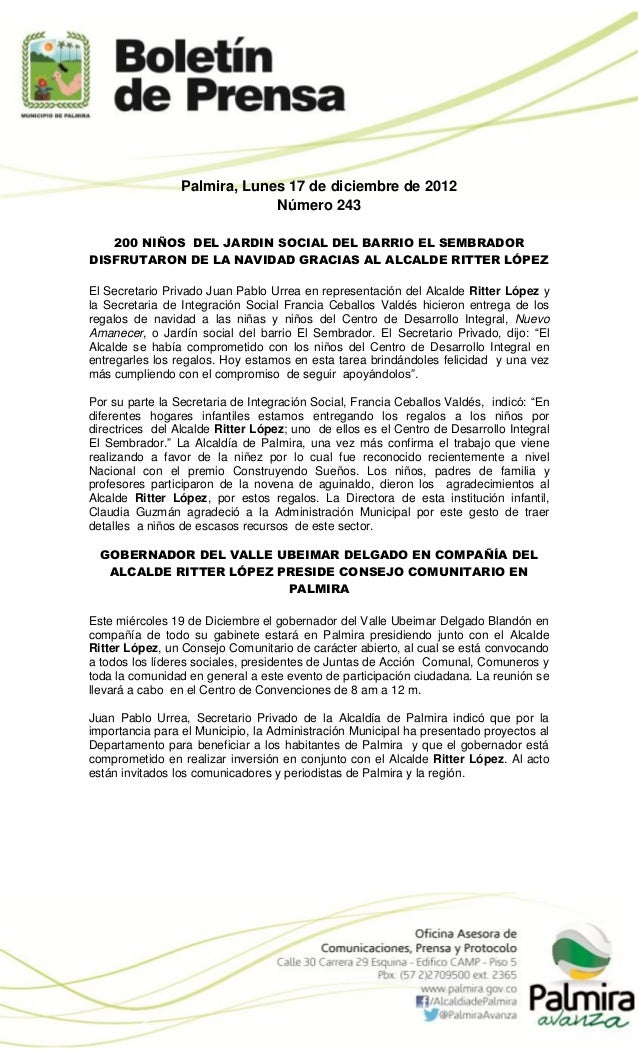 Palmira, Lunes 17 de diciembre de 2012                              Número 243   200 NIÑOS DEL JARDIN SOCIAL DEL BARRIO EL...
