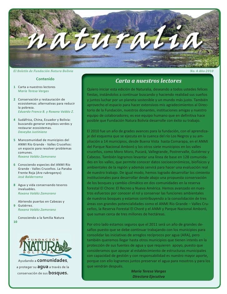 El Boletín de Fundación Natura Bolivia                                                                    No. 4 Año 2010  ...