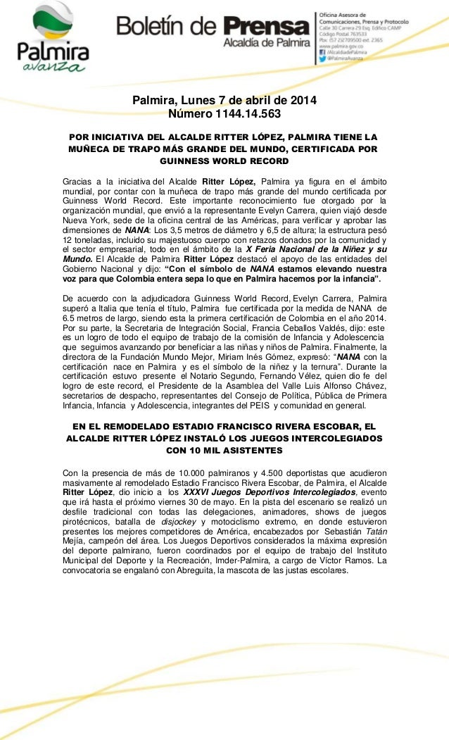 Palmira, Lunes 7 de abril de 2014 Número 1144.14.563 POR INICIATIVA DEL ALCALDE RITTER LÓPEZ, PALMIRA TIENE LA MUÑECA DE T...