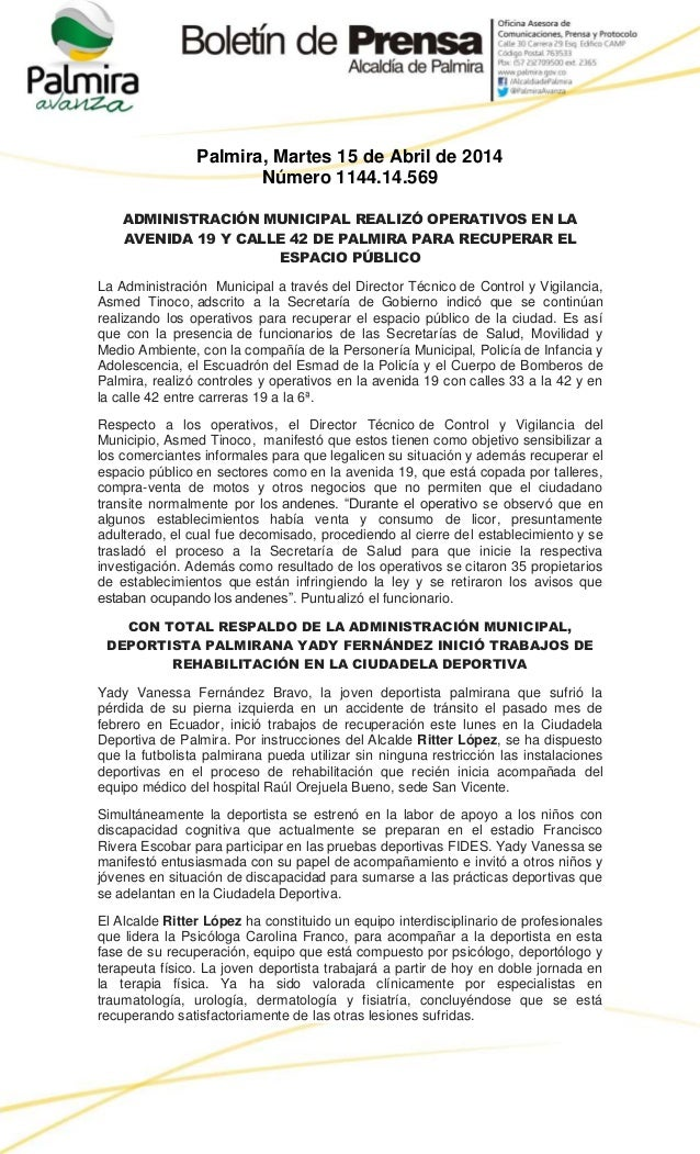 Palmira, Martes 15 de Abril de 2014 Número 1144.14.569 ADMINISTRACIÓN MUNICIPAL REALIZÓ OPERATIVOS EN LA AVENIDA 19 Y CALL...