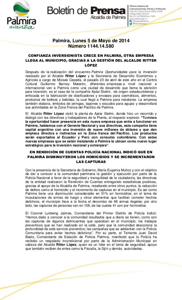 Palmira, Lunes 5 de Mayo de 2014 Número 1144.14.580 CONFIANZA INVERSIONISTA CRECE EN PALMIRA, OTRA EMPRESA LLEGA AL MUNICI...