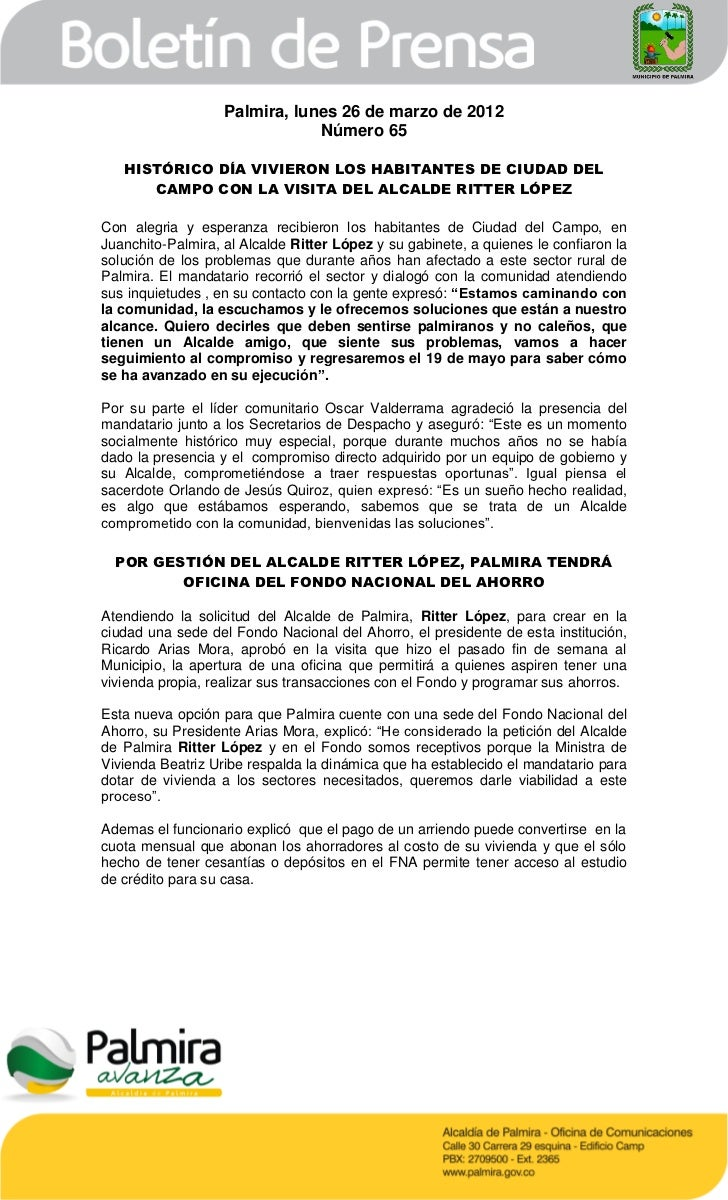 Palmira, lunes 26 de marzo de 2012                               Número 65   HISTÓRICO DÍA VIVIERON LOS HABITANTES DE CIUD...