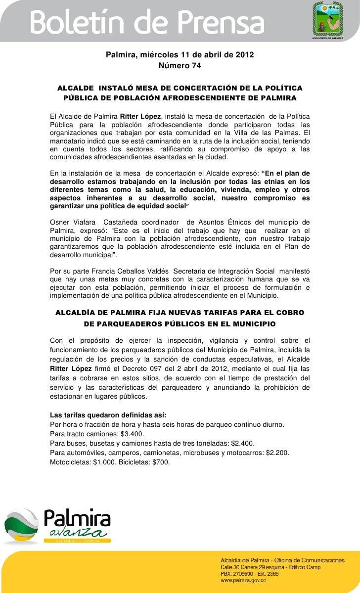 Palmira, miércoles 11 de abril de 2012                              Número 74  ALCALDE INSTALÓ MESA DE CONCERTACIÓN DE LA ...