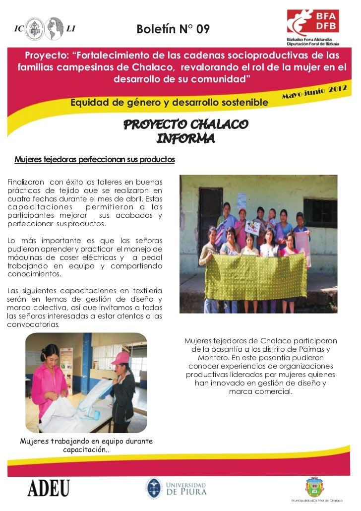 """Boletín N° 09     Proyecto: """"Fortalecimiento de las cadenas socioproductivas de las   familias campesinas de Chalaco, reva..."""