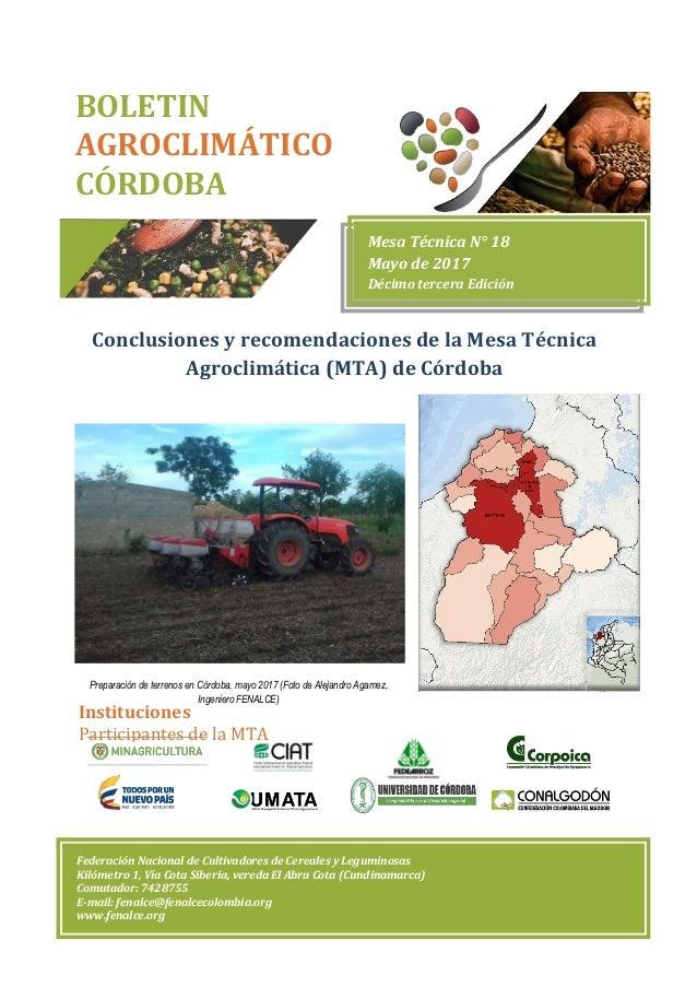 Conclusiones y recomendaciones de la Mesa Técnica Agroclimática (MTA) de Córdoba Preparación de terrenos en Córdoba, mayo ...