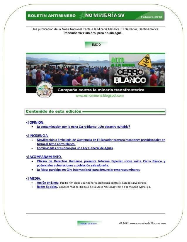 Una publicación de la Mesa Nacional frente a la Minería Metálica. El Salvador, Centroamérica.                          Pod...