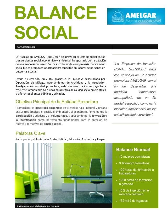 BALANCESOCIAL www.amelgar.orgLa Asociación AMELGAR en su afán de provocar el cambio social en sustres vertientes social, e...