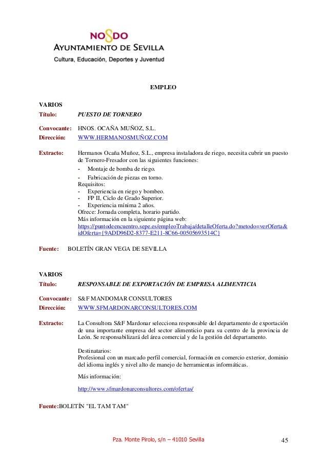 OFERTA DE EMPLEO Y CURSOS