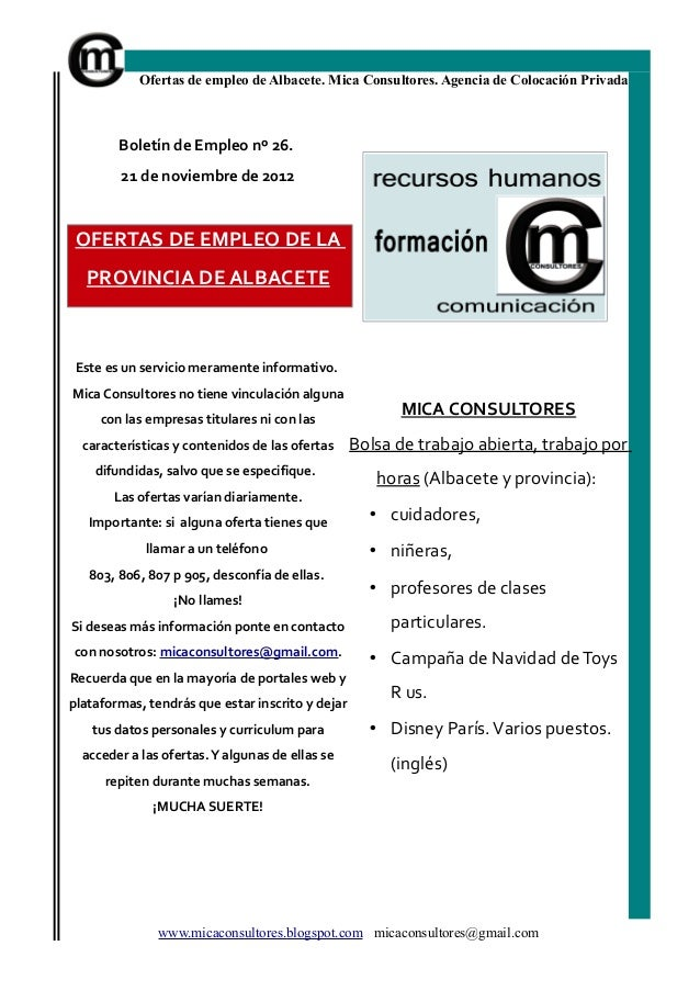 Ofertas de empleo de Albacete. Mica Consultores. Agencia de Colocación Privada        Boletín de Empleo nº 26.        21 d...