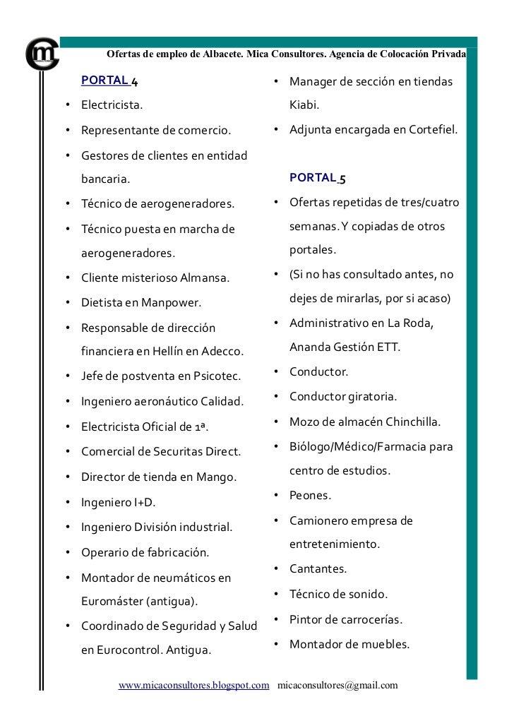 Bolet n de empleo de albacete n 13 de mica consultores for Ofertas de empleo en fabricas
