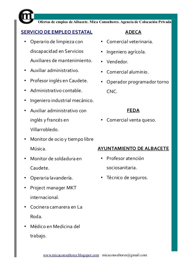 Bolet n de empleo ofertas trabajo albacete de mica for Oficina de empleo de albacete
