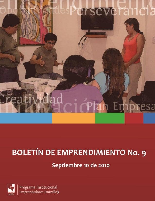 BOLETÍN DE EMPRENDIMIENTO No. 9 Septiembre 10 de 2010