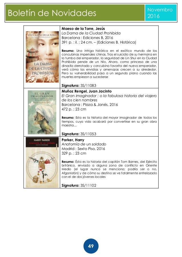 Boletín de novas bibliográficas noviembre 2016. biblioteca provincial…