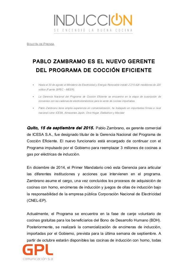 Pablo zambrano nuevo gerente del programa cocinas de inducci n for Nuevo programa de cocina