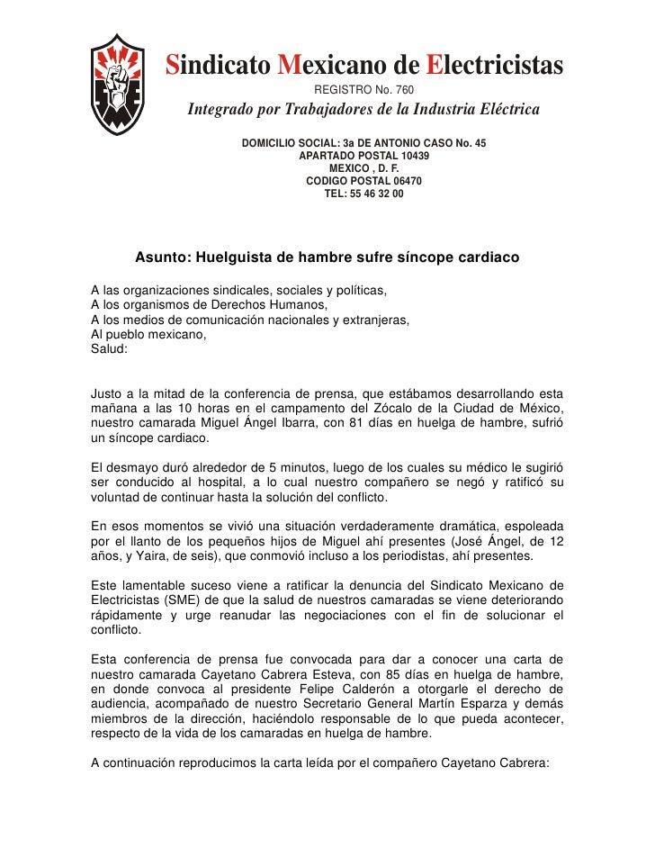Sindicato Mexicano de Electricistas                                      REGISTRO No. 760                 Integrado por Tr...