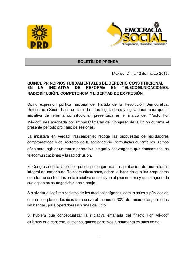 BOLETÍN DE PRENSA                                                 México, Df., a 12 de marzo 2013.QUINCE PRINCIPIOS FUNDAM...