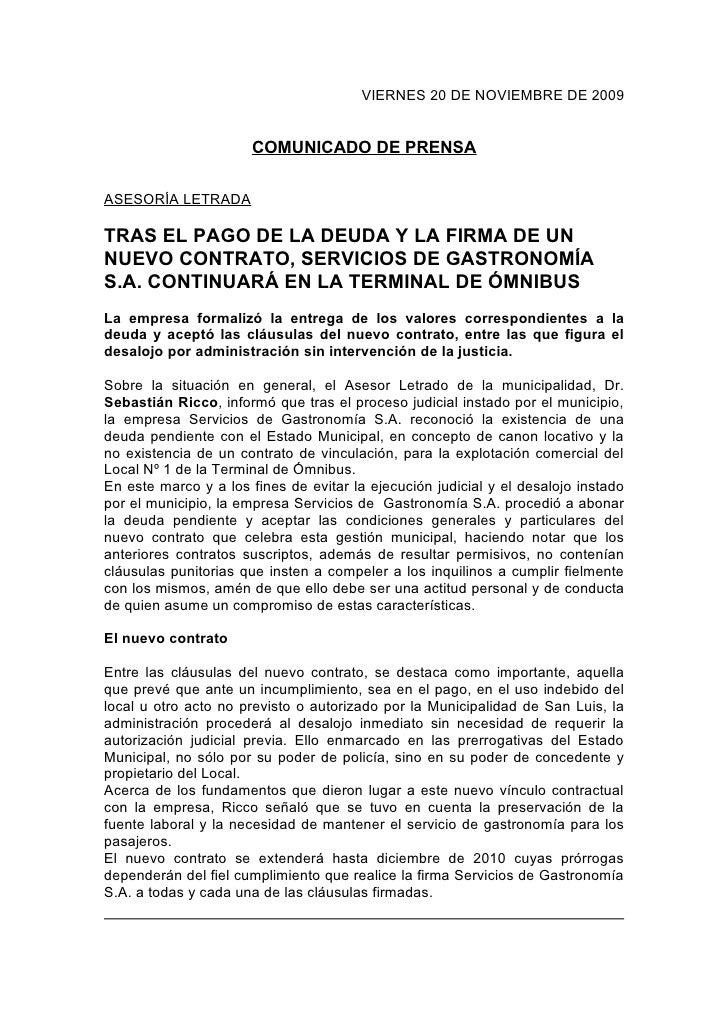 VIERNES 20 DE NOVIEMBRE DE 2009                          COMUNICADO DE PRENSA  ASESORÍA LETRADA  TRAS EL PAGO DE LA DEUDA ...