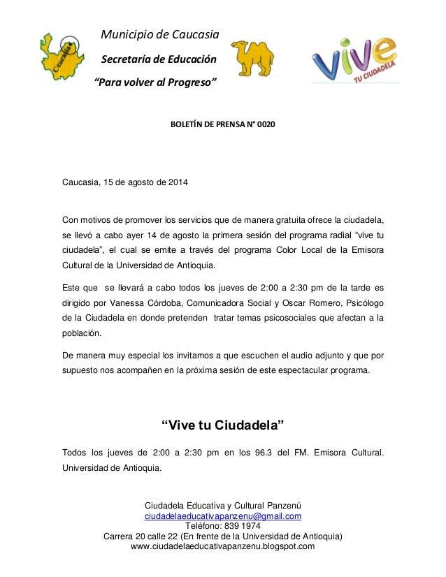 """Municipio de Caucasia  Secretaría de Educación  """"Para volver al Progreso""""  Ciudadela Educativa y Cultural Panzenú  ciudade..."""