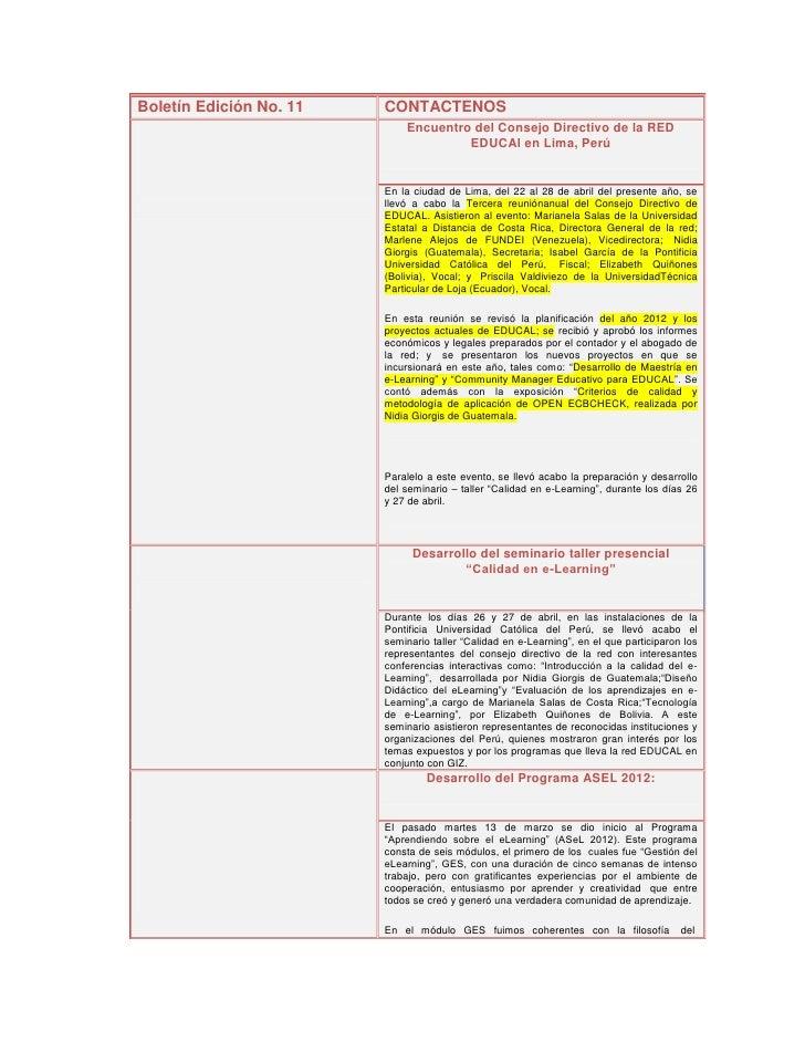 Boletín Edición No. 11   CONTACTENOS                             Encuentro del Consejo Directivo de la RED                ...