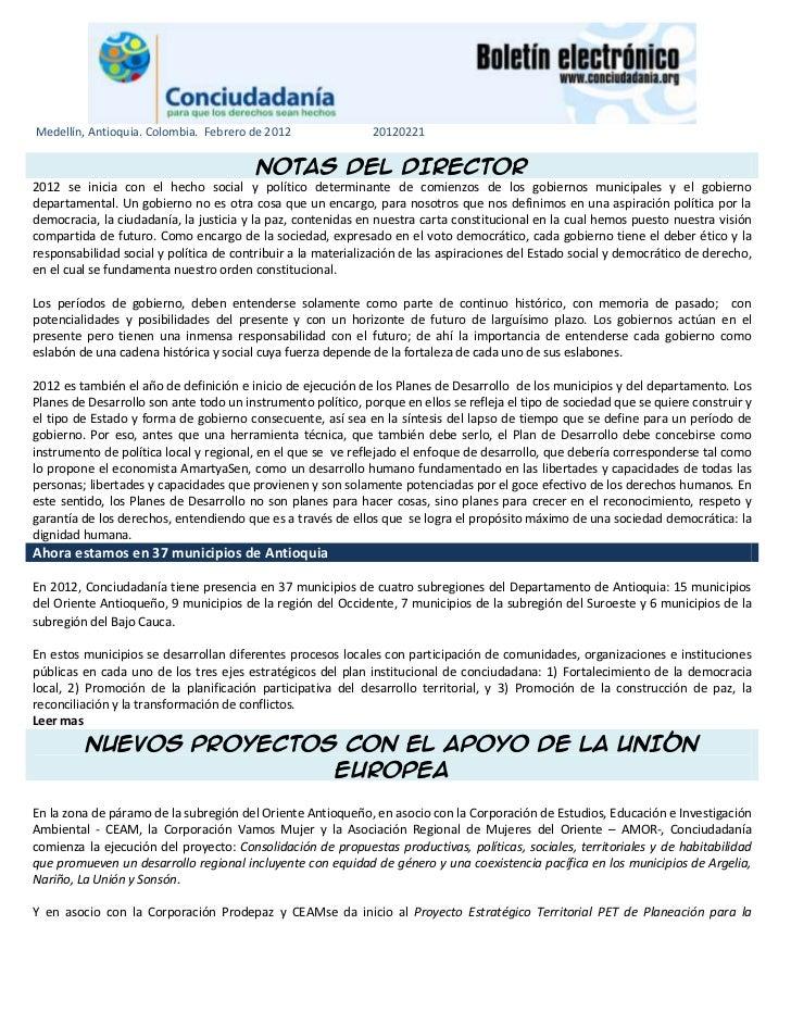 Medellín, Antioquia. Colombia. Febrero de 2012                20120221                                         NOTAS DEL D...