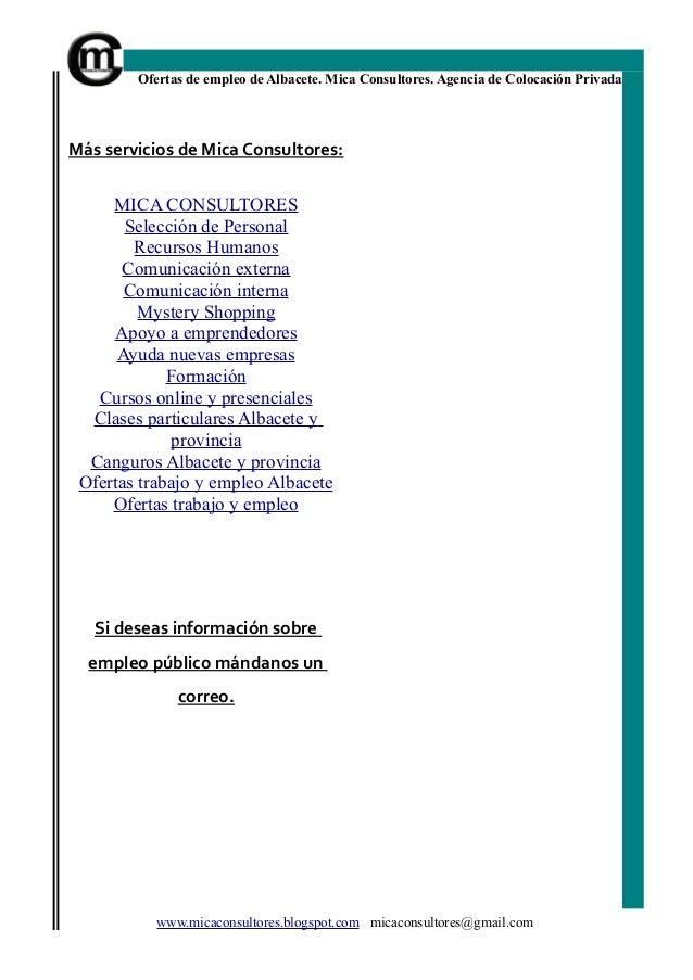 Bolet n empleo albacete n 35 mica consultores ofertas for Ofertas de empleo en la linea