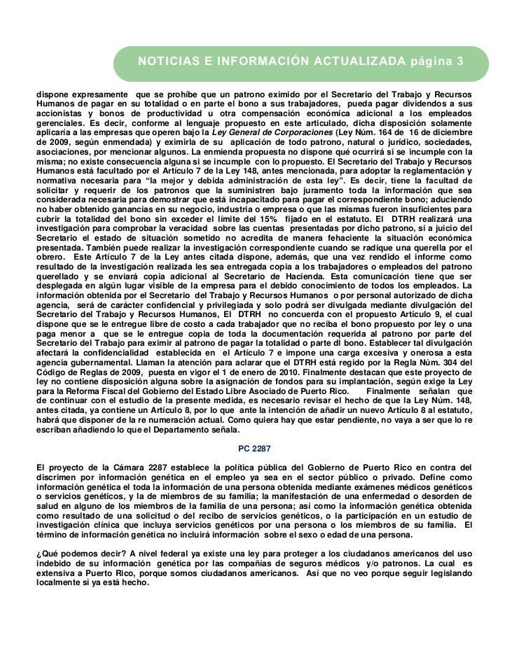 NOTICIAS E INFORMACIÓN ACTUALIZADA página 3dispone expresamente que se prohíbe que un patrono eximido por el Secretario de...