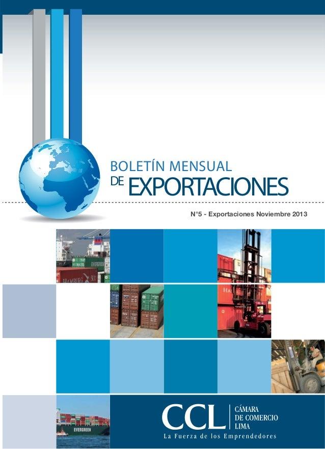 BOLETÍN MENSUAL DE  EXPORTACIONES N°5 - Exportaciones Noviembre 2013