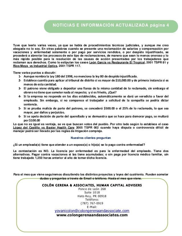 COLÓN GERENA & ASSOCIATES, HUMAN CAPITAL ADVISERS Ponce de León 268 Suite 1018 Hato Rey, PR 00918 Teléfono: (787) 767-0919...