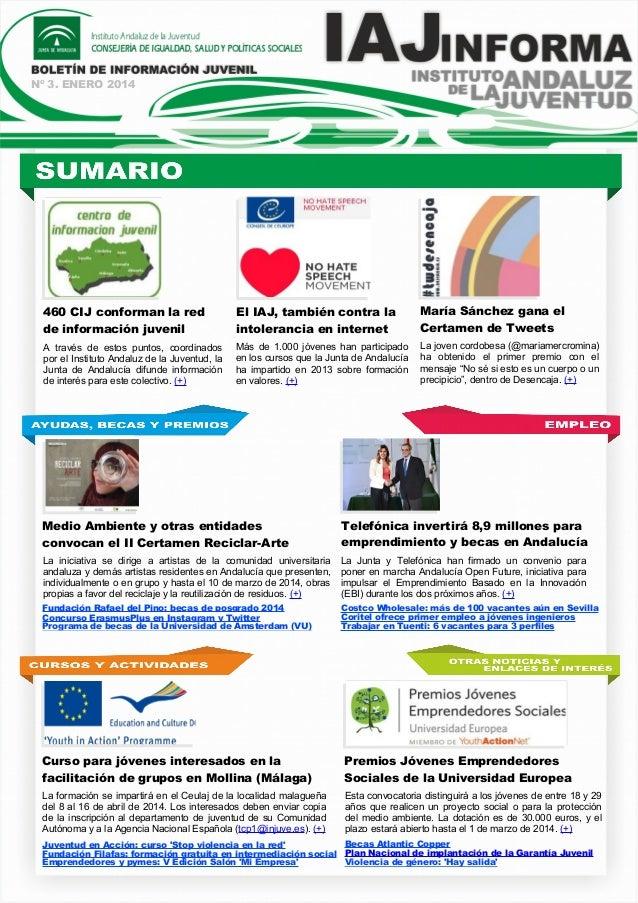Nº 3. ENERO 2014  460 CIJ conforman la red de información juvenil  El IAJ, también contra la intolerancia en internet  Mar...