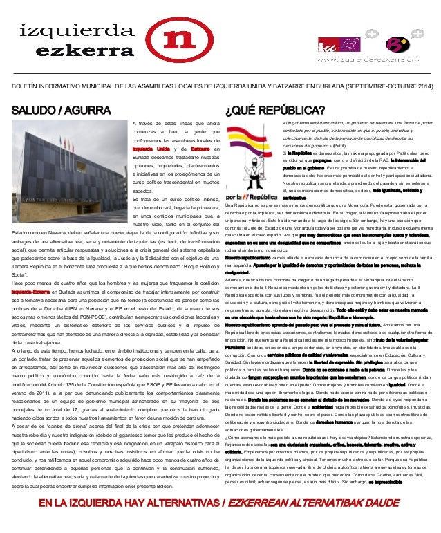 BOLETÍN INFORMATIVO MUNICIPAL DE LAS ASAMBLEAS LOCALES DE IZQUIERDA UNIDA Y BATZARRE EN BURLADA (SEPTIEMBRE-OCTUBRE 2014) ...
