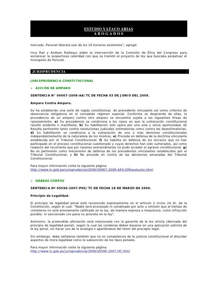 ESTUDIO YATACO ARIAS                                        ABOGADOS  mercado. Perurail liberará seis de los 16 horarios e...